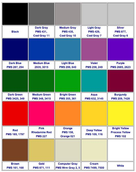 color selection color chart guide for custom labels