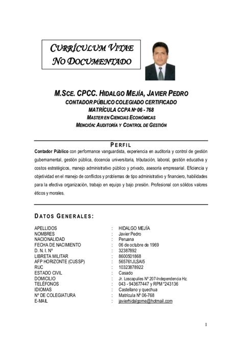 Modelo De Curriculum Vitae No Documentado Peru Hidalgo Mej 205 A Javier Pedro Hoja De Vida