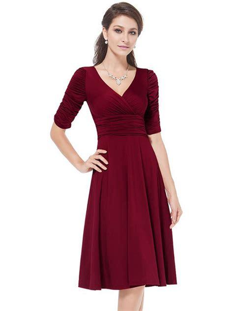 Sleeve Pleated Dress vintage v neck half sleeve pleated tunic dress