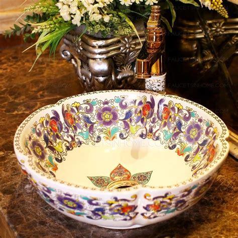 White Vessel Sink Antique Ceramic Flower Shape Pattern
