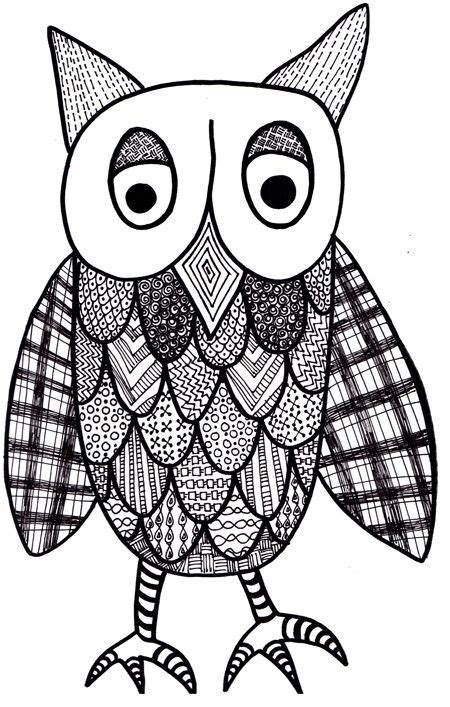 coloring pages  art  zentangle patterned owl
