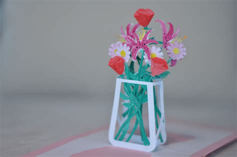 flower bouquet pop up card template