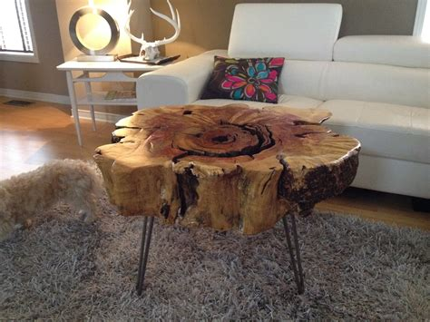 stump table with hairpin metal legs stump end table