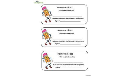 homework pass no homework coupon printable free