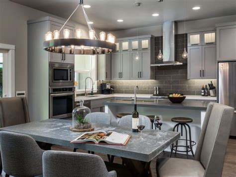 gray kitchen features    classic forms hgtv