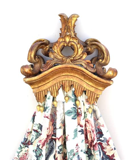 drapery crowns gold leaf teester crown with tassel bed door window