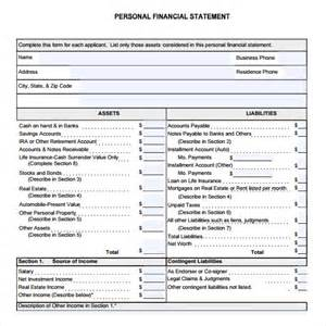 personal financial statement template free personal financial statement form 7 free sles