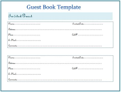 guest book cards template guest book template free word templates