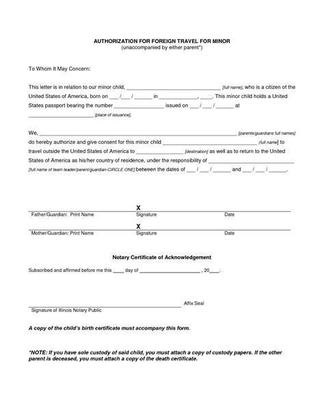 Child Travel Consent Letter Template Sle For Children Travelling Abroad With One In Parent Permission For Child To Travel With One Parent Template