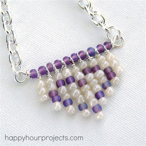 seed bead projects fringe seed bead necklace happy hour projects