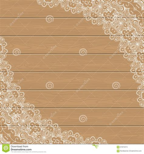 retro place card template wood background with lace corners stock vector