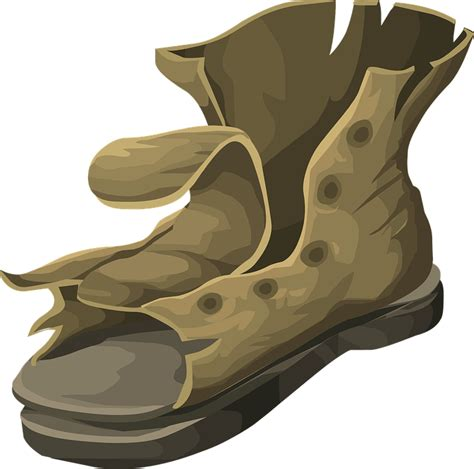 clipart old boat boot worn footwear 183 free vector graphic on pixabay