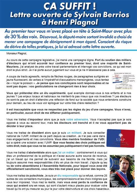 Exemple De Lettre Ouverte Célèbre Ca Suffit Lettre Ouverte De Sylvain Berrios 224 Henri Plagnol Sylvain Berrios