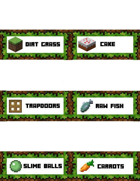 Minecraft Food Label Templates