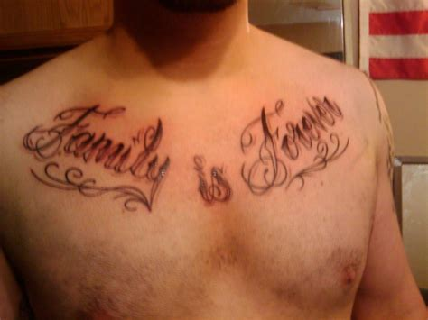 family chest tattoos for men family is forever on chest tattooshunt