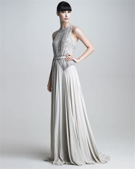 elie saab beaded dress elie saab beaded bodice gown in gray lyst