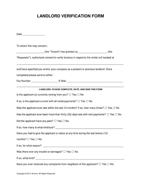 free rent landlord verification form word pdf