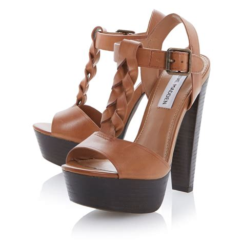 heel sandal steve madden daylee block heel sandals in brown lyst