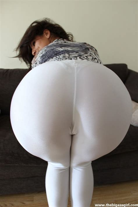Big ass in transparent white leggings vpl booty shiny lycra by