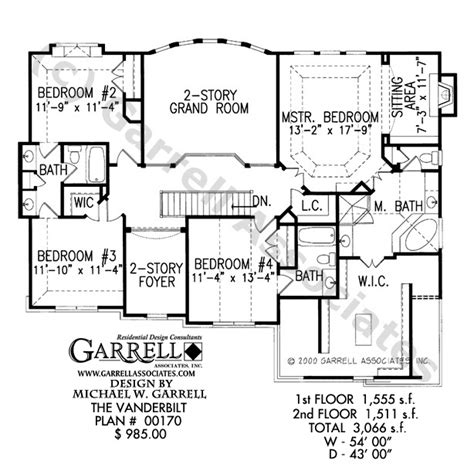vanderbilt floor plans vanderbilt house plan house plans by garrell associates