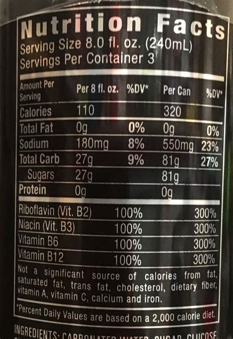 energy drink list beverage energy drinks calories and nutritional
