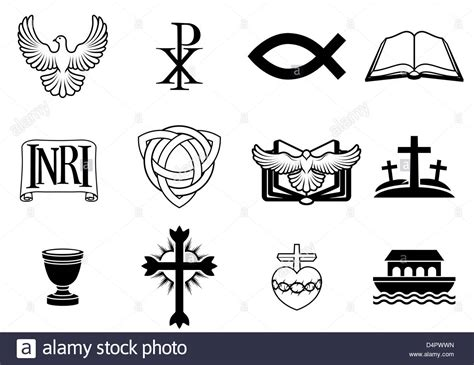 Awesome Trinity Christian Church #4: Christian-icons-and-symbols-dove-chi-ro-fish-symbol-bible-inri-sign-D4PWWN.jpg