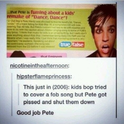 Pete Wentz Explains Why He Punched A Fan by Thanks Pete Fall Out Boy Thanks Kid And