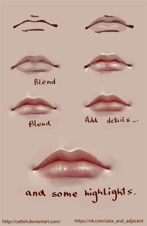 watercolor mouth tutorial lips step by step by satazakuro deviantart com on