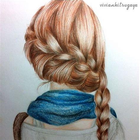 hairstyles color drawing meisje getekend met een vlecht 4 portraits pinterest
