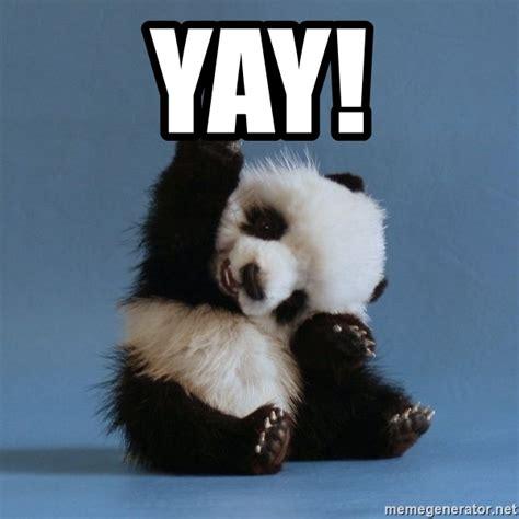 yay meme yay happy panda meme generator
