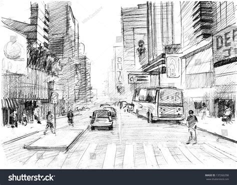 pencil drawings buildings building sketch stock photos pencil drawing big modern city new stock illustration