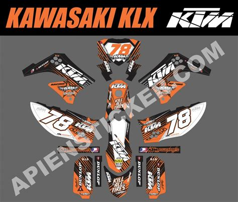 Sticker Decal Striping Dekal Stiker Klx 149 Glossy striping motor kawasaki klx 150 ktm orange apien sticker