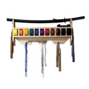 martial arts belt and weapon display rack medal ribbon