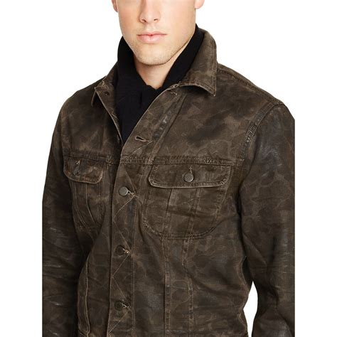 Trucker Denim Jacket In Brown polo ralph camo denim trucker jacket in brown for