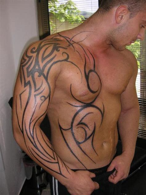tribal chest and sleeve tattoos images designs