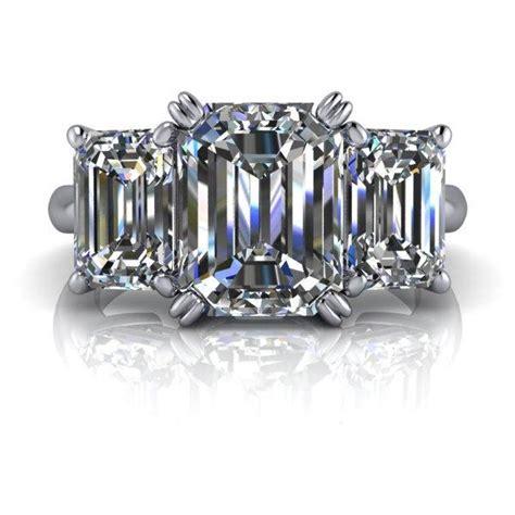 moissanite engagement three emerald cut 4 5 ctw