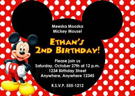 Mickey Mouse Birthday Invitation Card Birthday Invitation Mickey Mouse Birthday Invitations