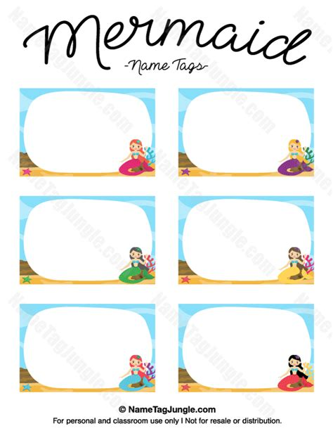 printable under the sea name tags printable mermaid name tags
