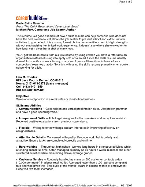 8 example of a skills based cv penn working papers