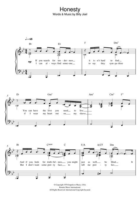 tutorial piano honesty honesty sheet music by billy joel piano vocal 121448