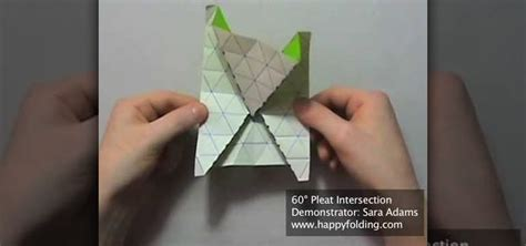 Origami Pleat Fold - how to origami a 60 degree tessellation pleat intersection