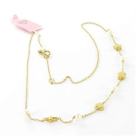 tous 18k gold sweet dolls necklace w pearls cross
