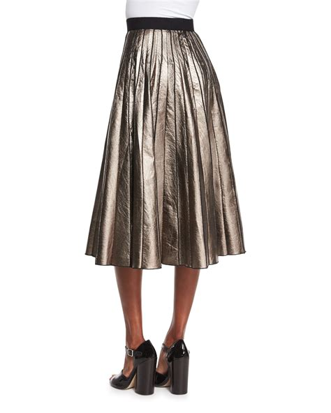 marc pleated metallic leather skirt in metallic lyst
