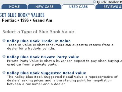 using kelley blue book value type and features