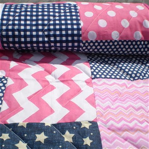 Navy Blue And Pink Crib Bedding Baby Quilt Nautical Baby Quilt Baby From Happyquilts On Etsy