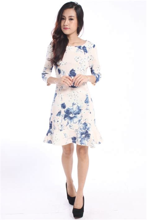 Zara Chrysan Floral zara inspired floral trumpet dress the label junkie