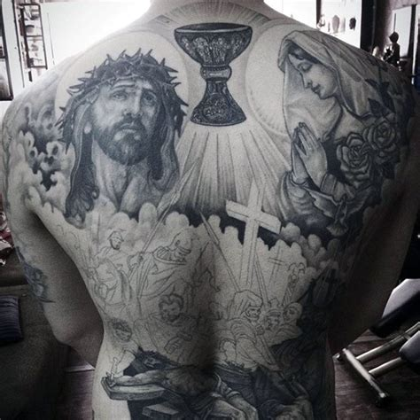 black and grey back tattoos black and grey christianity tattoo on full back