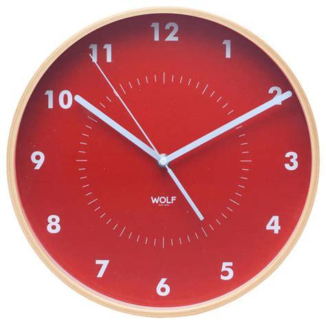 modern orange wall clock wall clock orange contemporary wall clocks by wolf