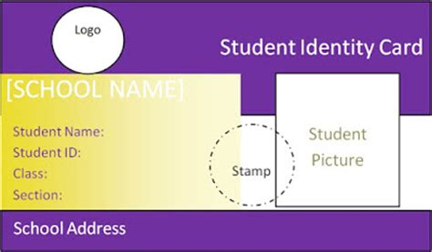Student Identification Card Template by Beautiful Student Id Card Templates Desin And Sle Word