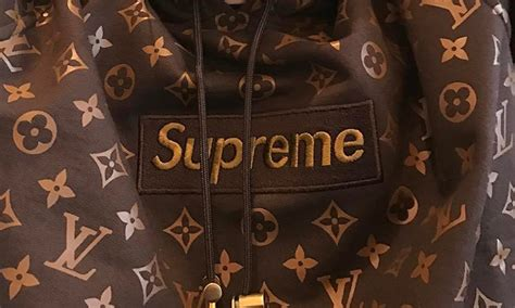 Supreme X Lv Sweater beckham wears a louis vuitton x supreme hoodie that